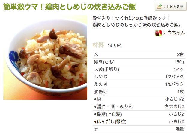 レシピ 炊飯器 タベログ クックパッド 鳥 しめじ 炊き込み御飯