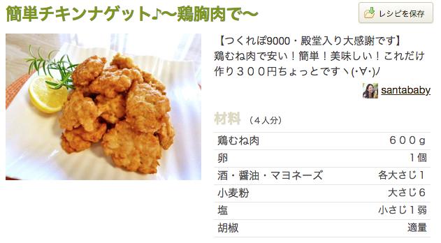 チキンナゲット 鶏ムネ肉レシピ つくれぽ1000件超え